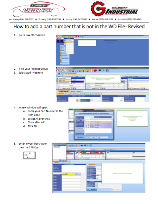 How To Add A Part # Not In The WD File