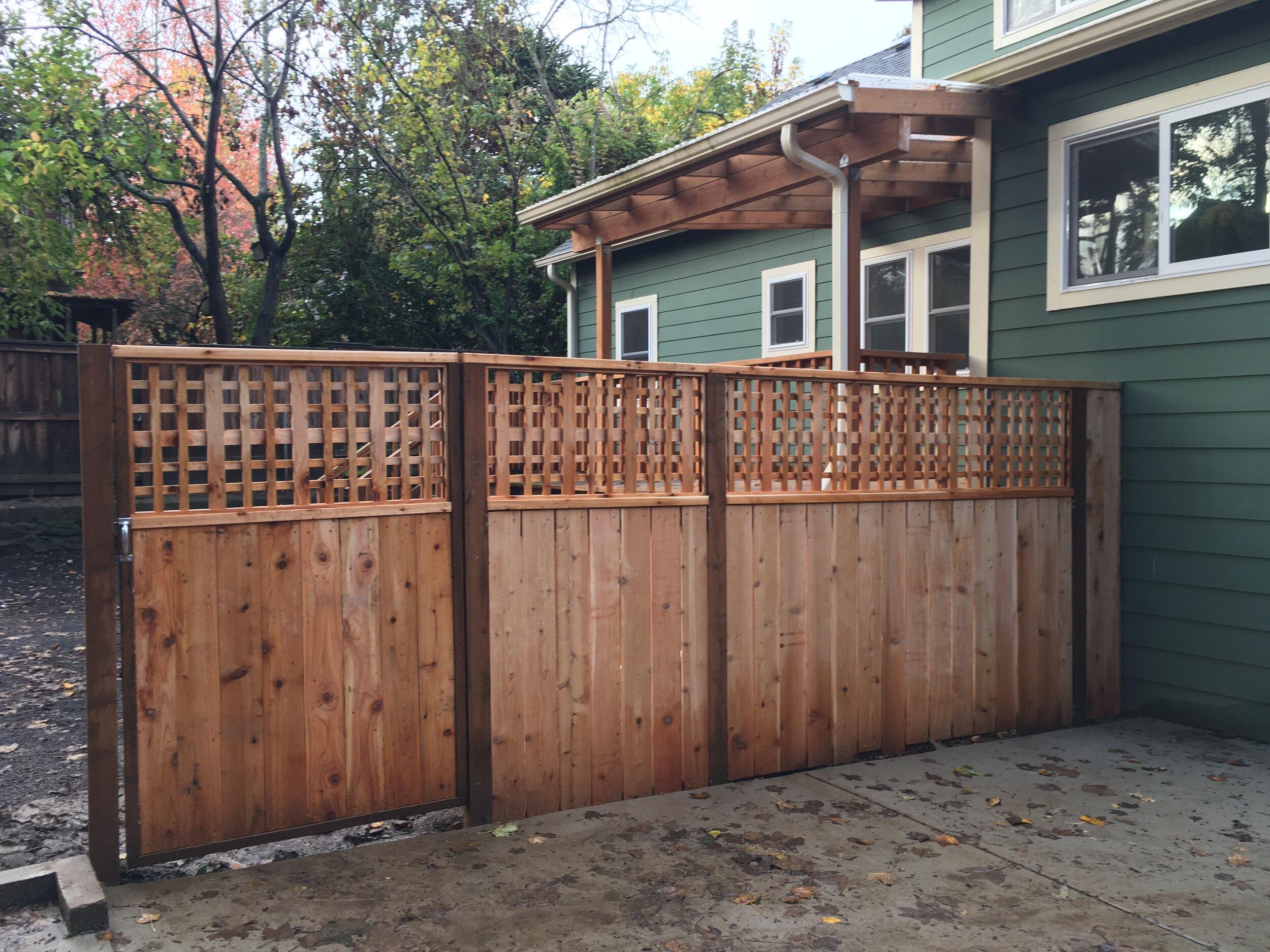 Close up custom cedar fencing.