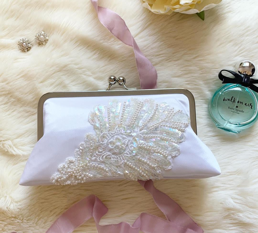 wedding clutch for bride from moms dress