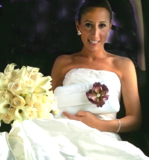 bride with flowers and purse