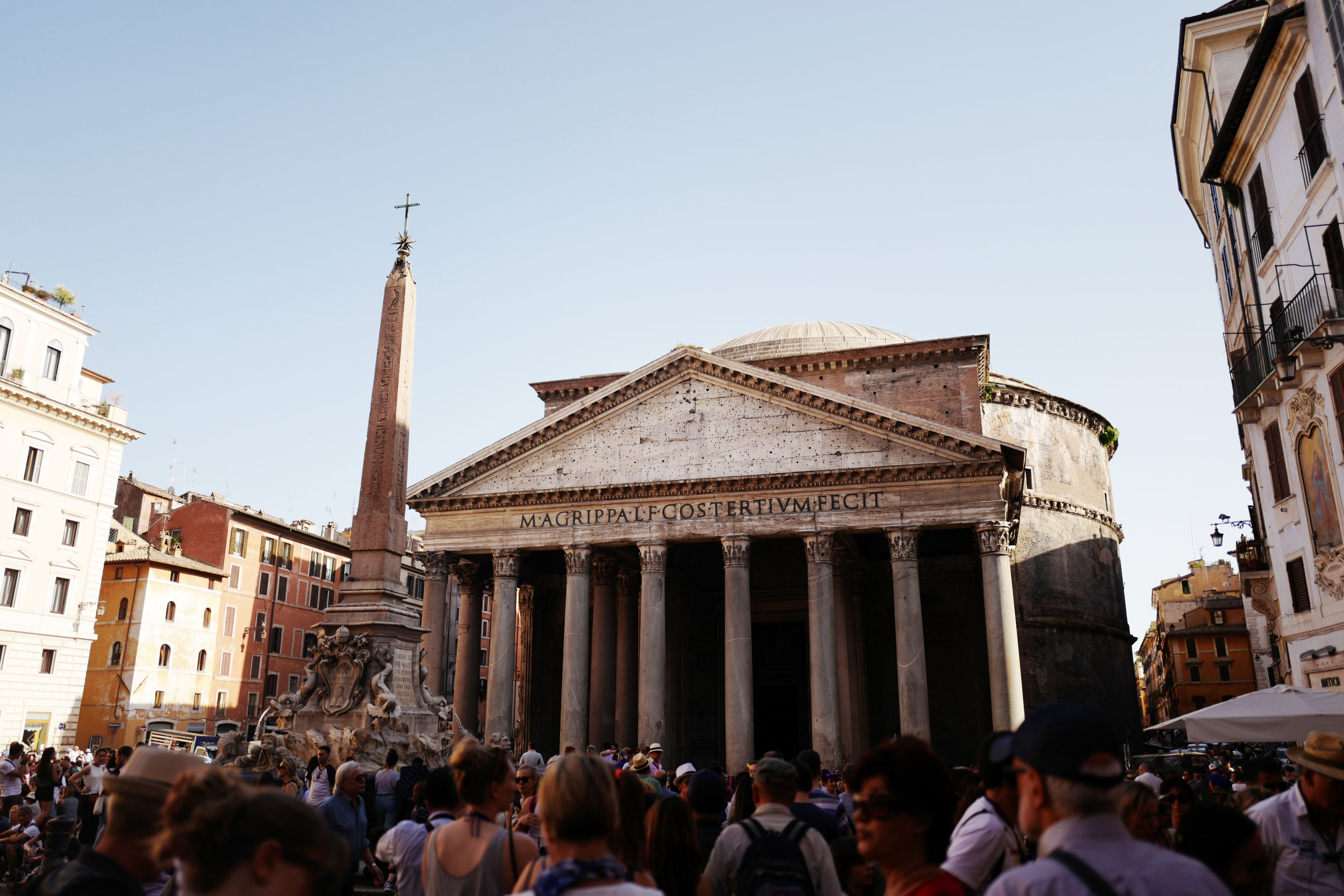 "Pantheon, the inscription translates to ""Marcus Agrippa, the son of Lucius, three times consul, built this."""