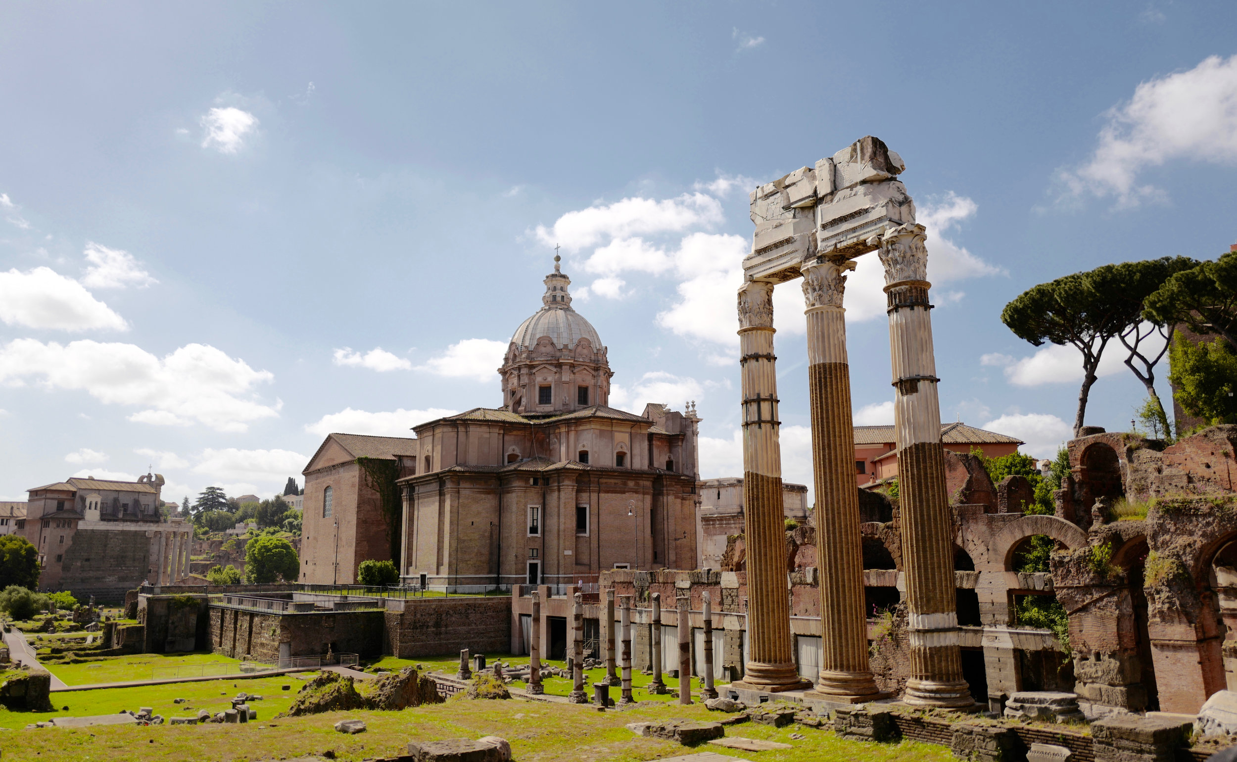 The Roman Forum with the Temple of Castor and Pollux (3 columns) in the foreground