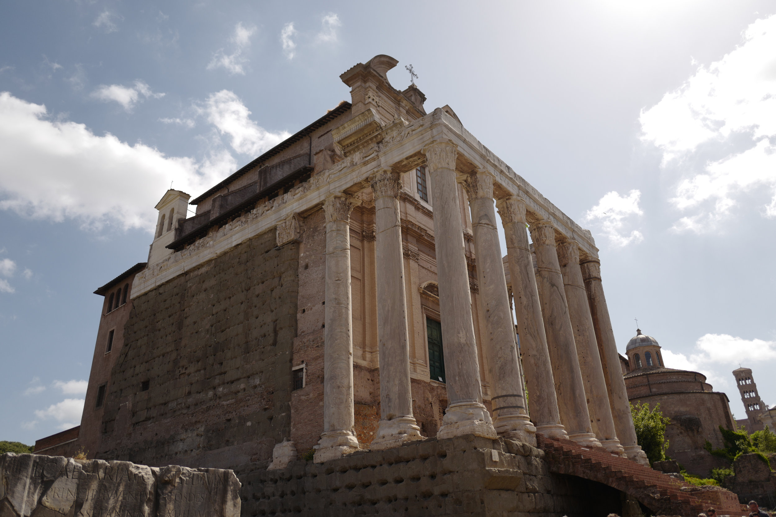 Temple of Antoninus and Faustina: Built in 141 AD by Emperor Antoninus Pius to honor his wife and was then converted into a Roman Catholic Church. (The columns are original).