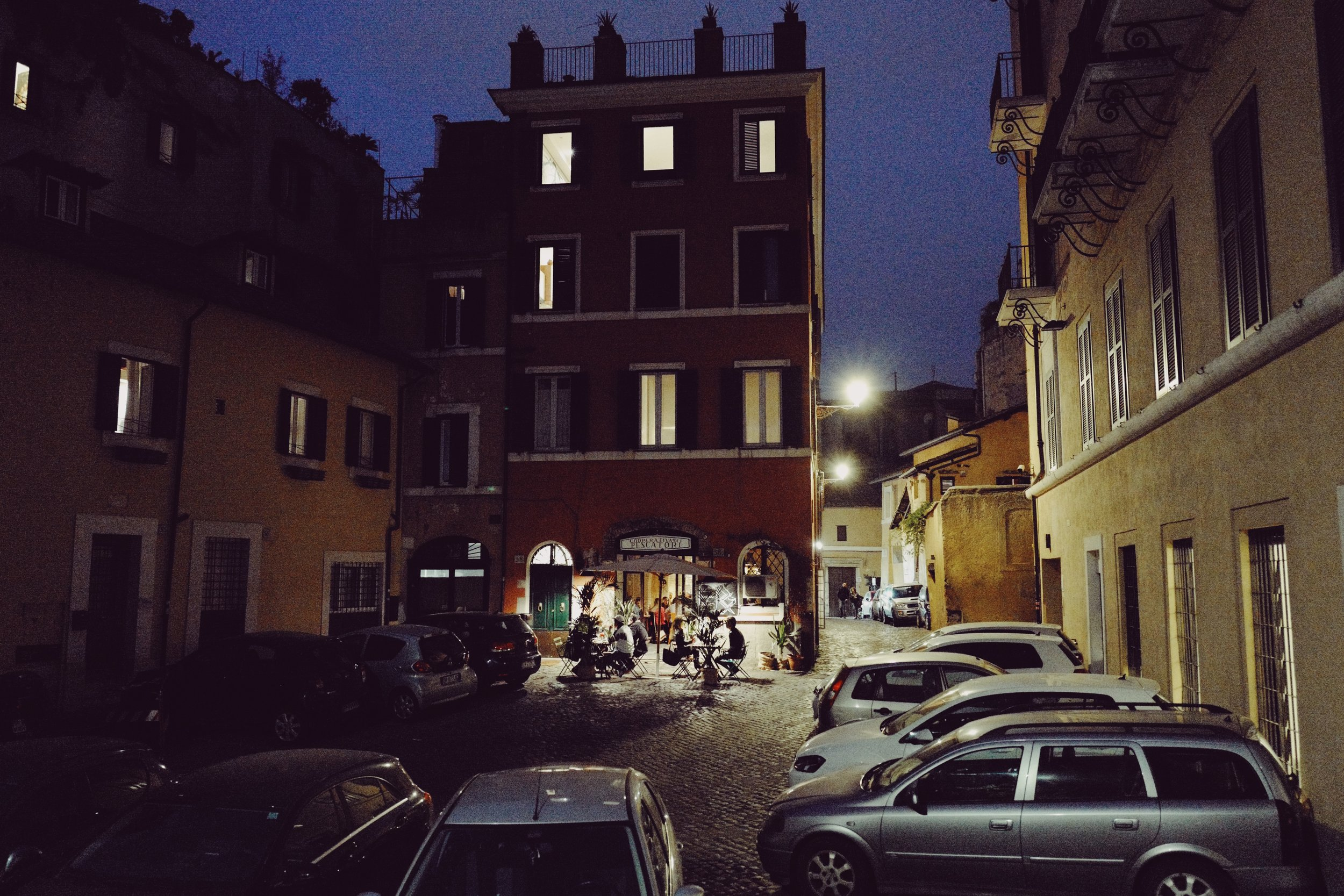 Trastevere: Late night restaurants still open with people eating outside!
