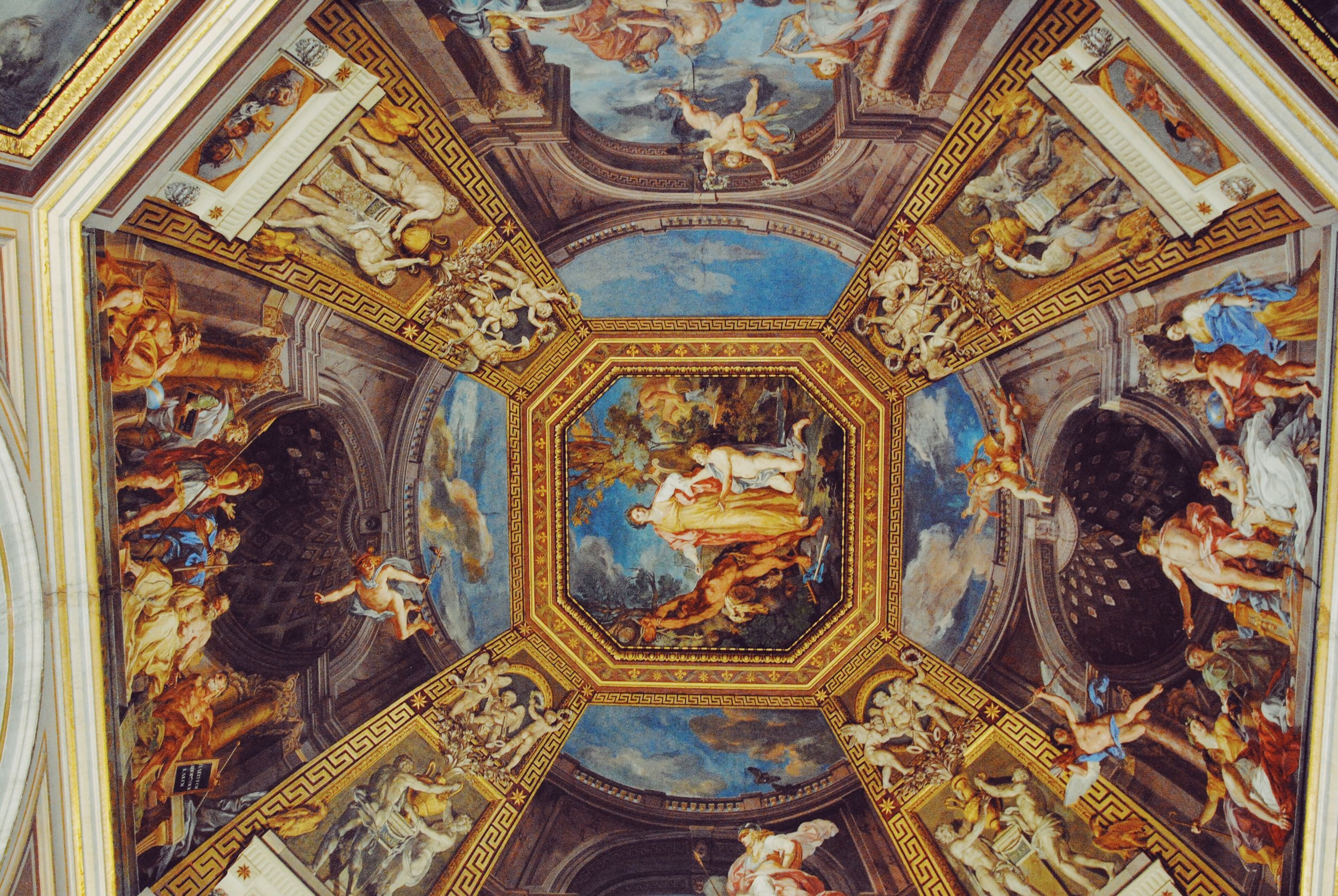 One of the many elaborate ceilings in the Vatican