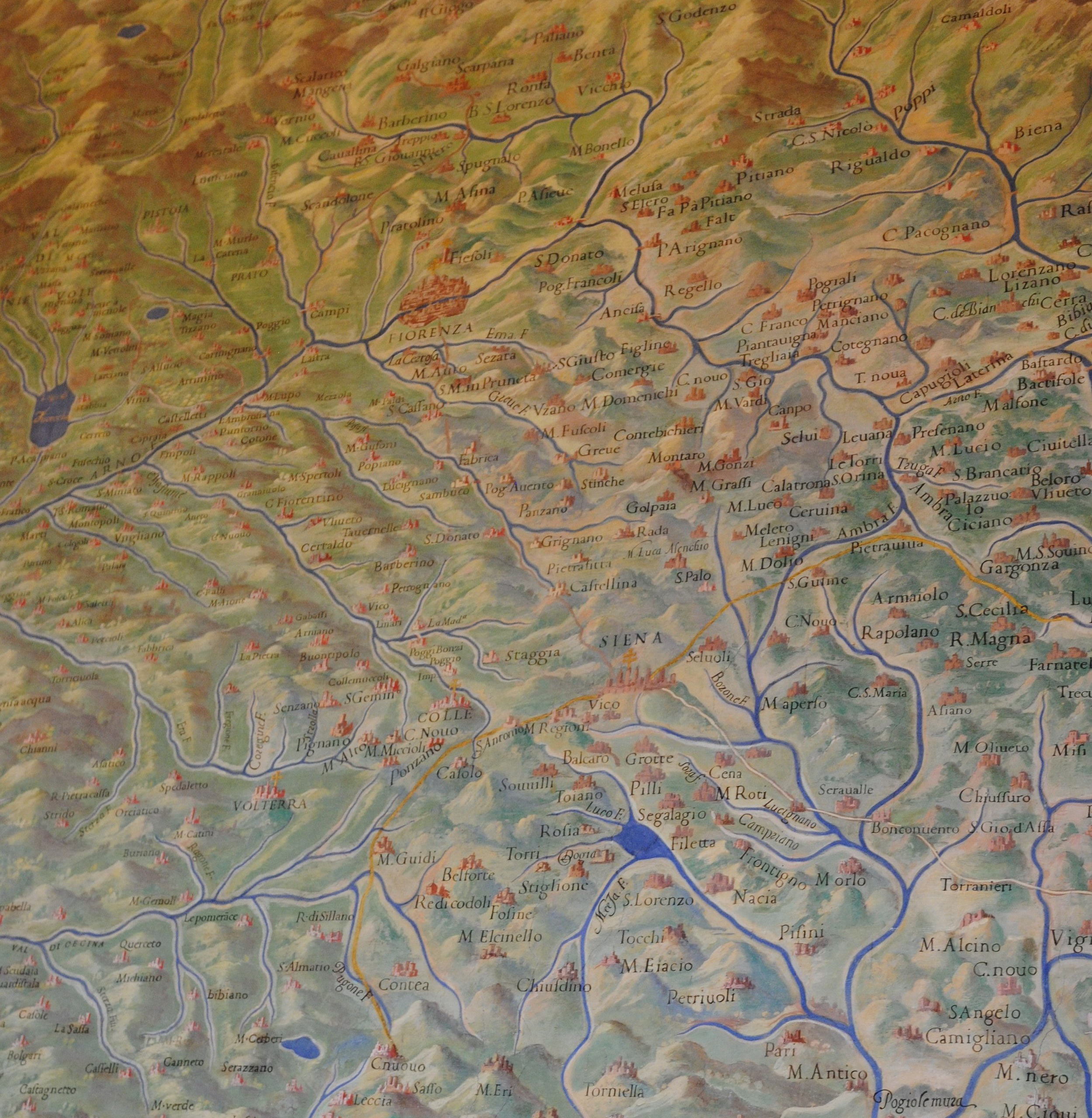 Gallery of Maps Closeup, each mountain is documented in the area surrounding Siena