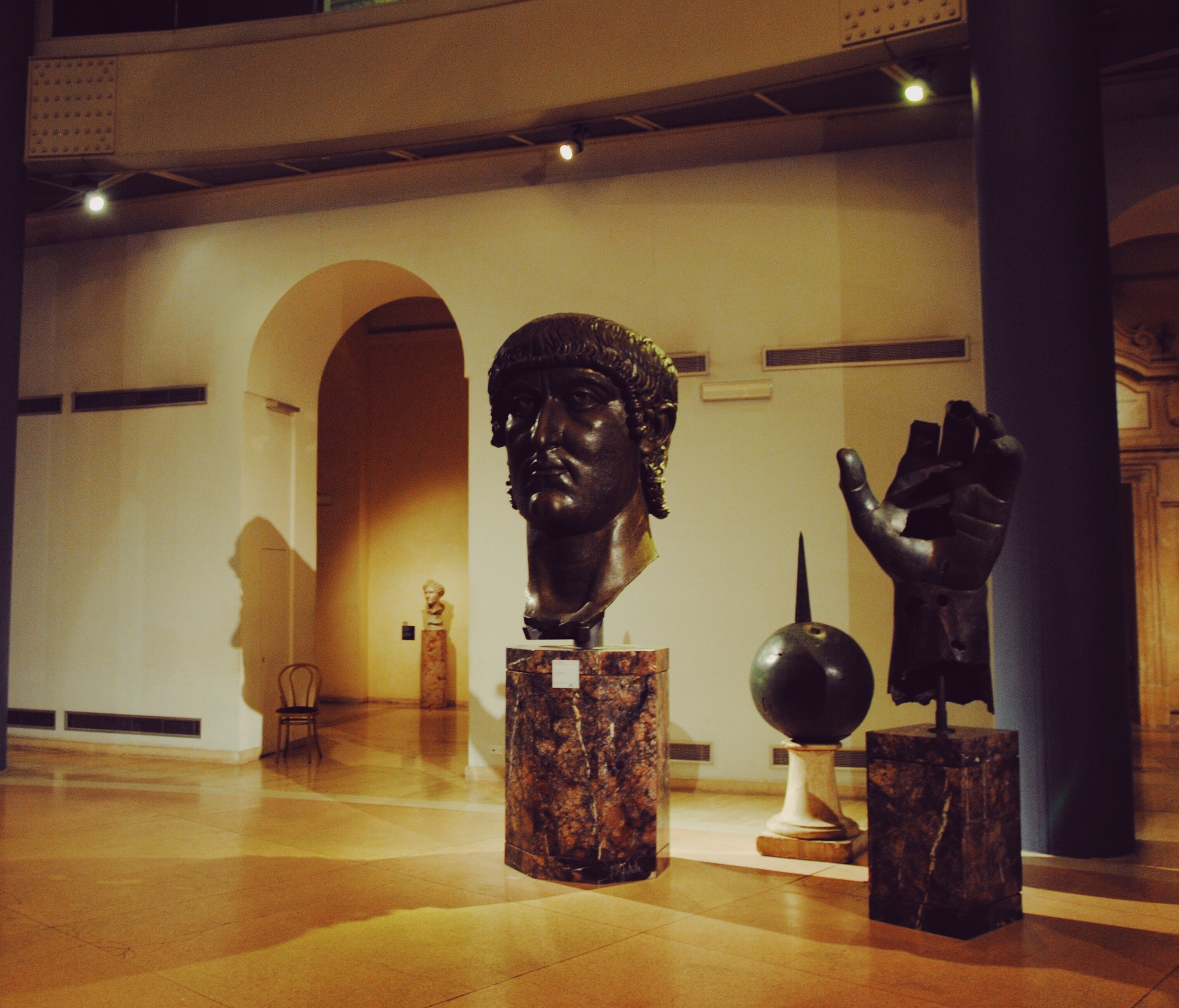 Capitoline Museum: Colossal bronze head of Constantine 4th Century CE