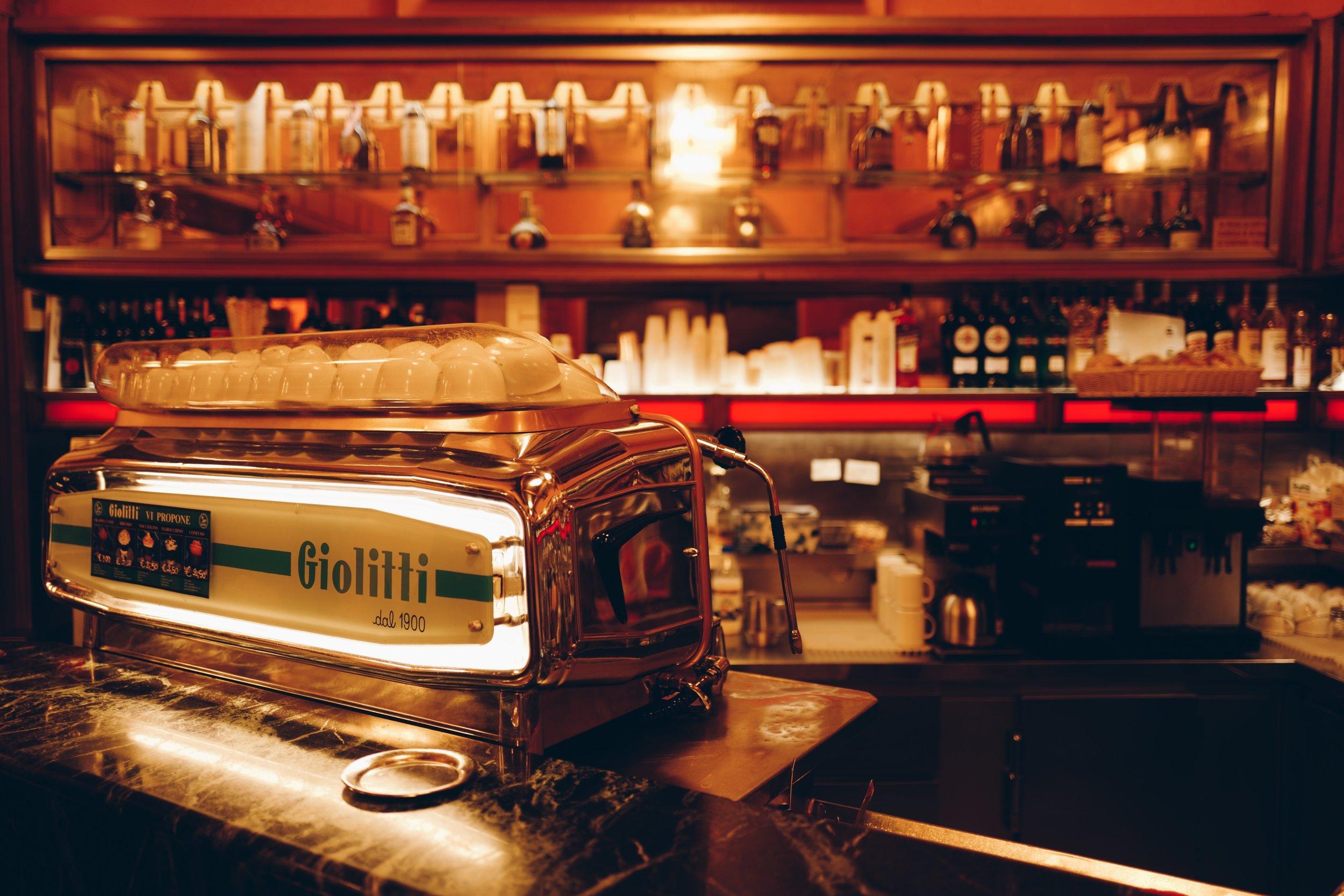 """""""Branded"""" espresso machine in Giolitti."""