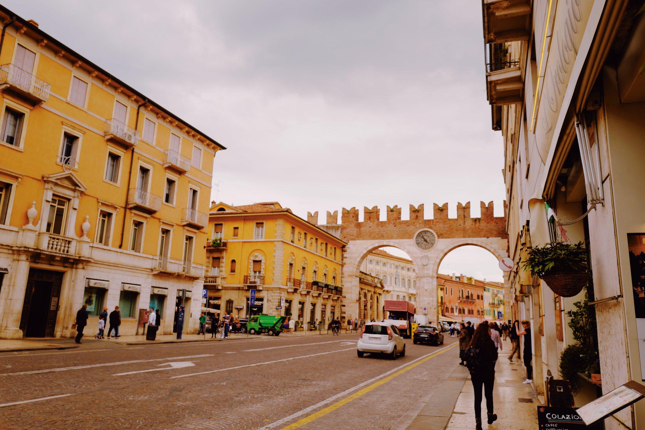 Walking into the town center, view of the Portoni della Bra