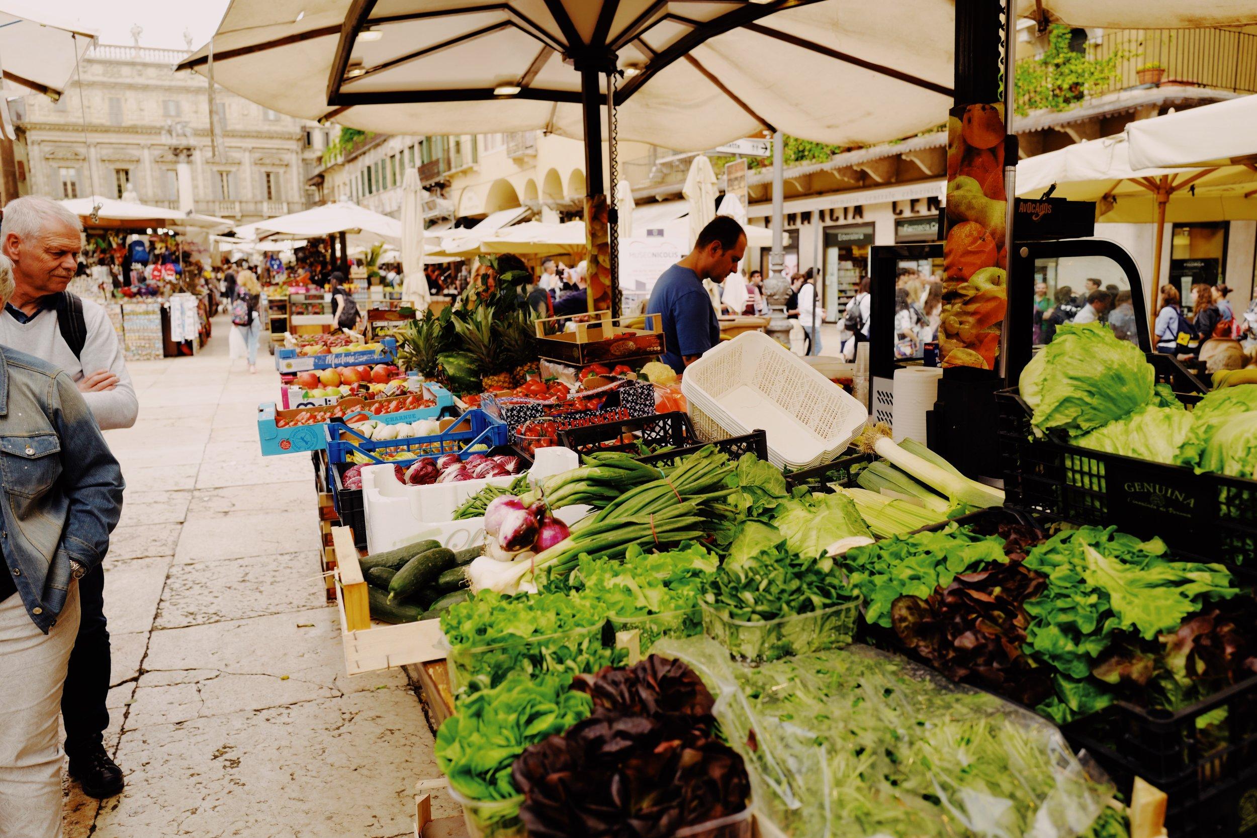 Small farmer's market at the Piazza delle Erbe