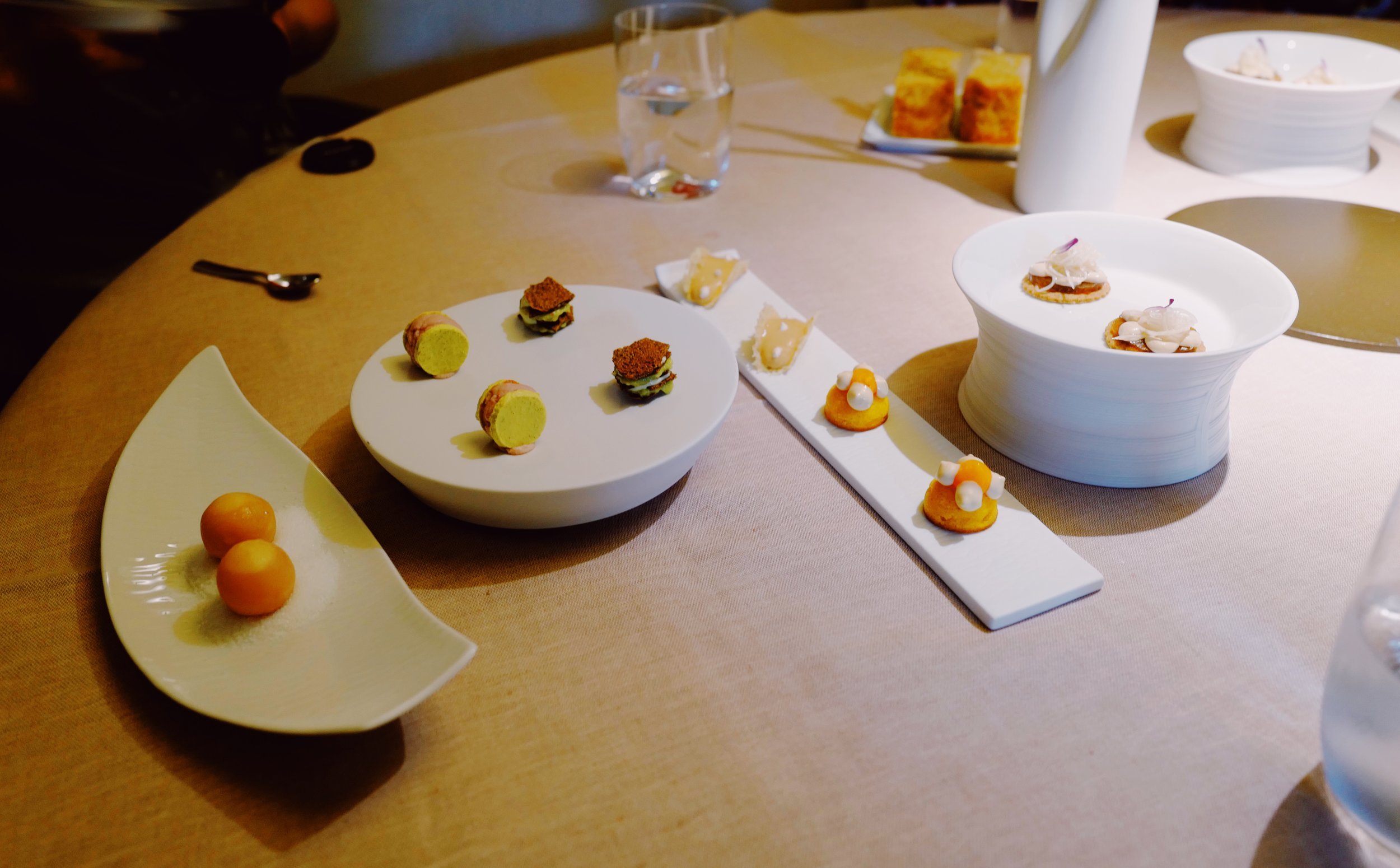 Numerous amuse bouche and small appetizers