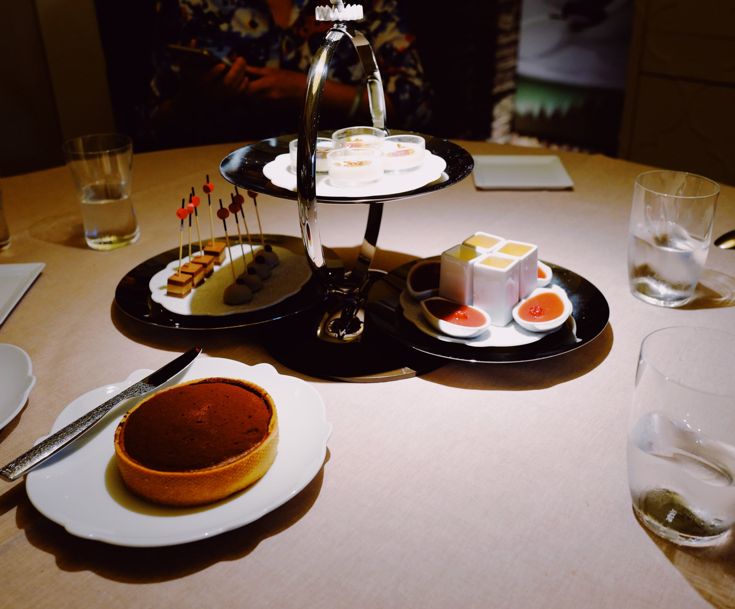 Dessert tray, yes and a whole chocolate cake…
