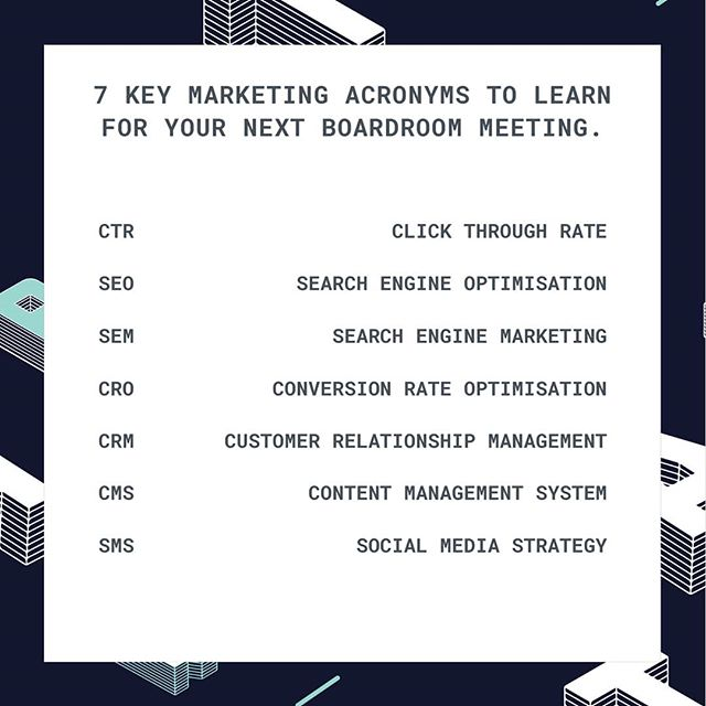 What's all this mumbo jumbo about? 🤷🏼♂️ . Learn these essential marketing acronyms, so you can keep up in your next board meetings. . . . . . #growthhacking #marketing #marketingtools#marketingstrategico #marketingstrategy #marketing101 #marketinglife #marketingplan #marketingdigital#marketingtipst#socialmarketing#marketingsocial#socialmarketingtips#socialmediamarketingtip#getfollowersfastt#socialmediaagency#digitalmarketing#digitalmarketingagency#digitalmarketingexpert#digitalmarketingtips#digitalmarketingstrategy#digitalmarketingtraining#internetmarketing#internetmarketingtips#internetmoney#makemoneyontheinternet#salesandmarketing#marketingmanager