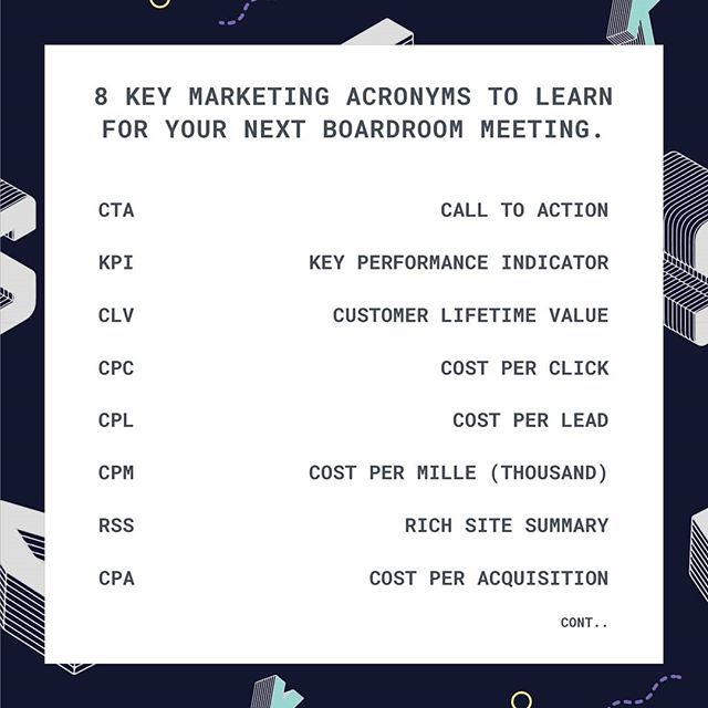 What's all this mumbo jumbo about? 🤷🏼‍♂️ . Learn these essential marketing acronyms, so you can keep up in your next board meetings. . . . . . #growthhacking #marketing #marketingtools#marketingstrategico #marketingstrategy #marketing101 #marketinglife #marketingplan #marketingdigital#marketingtipst#socialmarketing#marketingsocial#socialmarketingtips#socialmediamarketingtip#getfollowersfastt#socialmediaagency#digitalmarketing#digitalmarketingagency#digitalmarketingexpert#digitalmarketingtips#digitalmarketingstrategy#digitalmarketingtraining#internetmarketing#internetmarketingtips#internetmoney#makemoneyontheinternet#salesandmarketing#marketingmanager