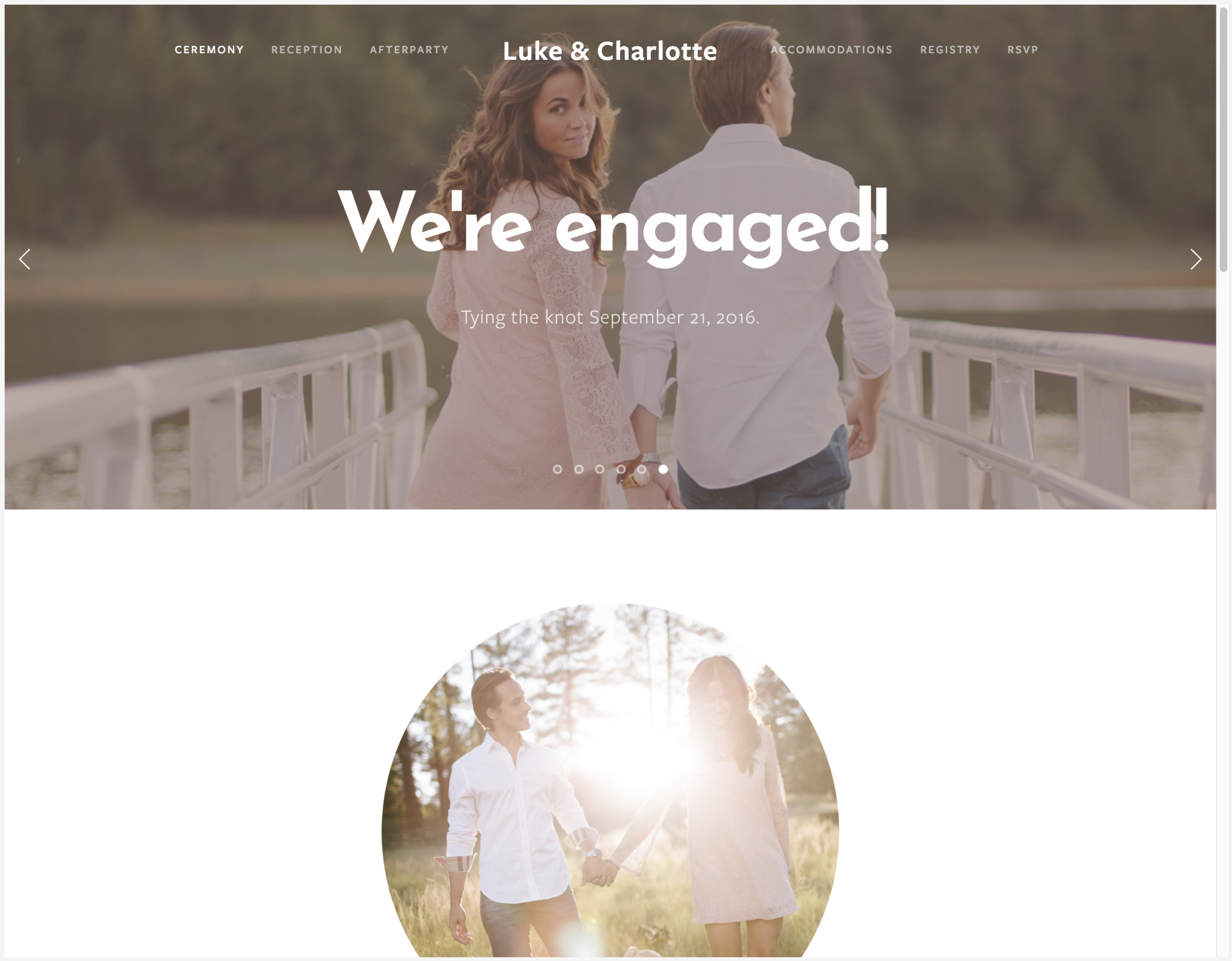 Squarespace wedding website example