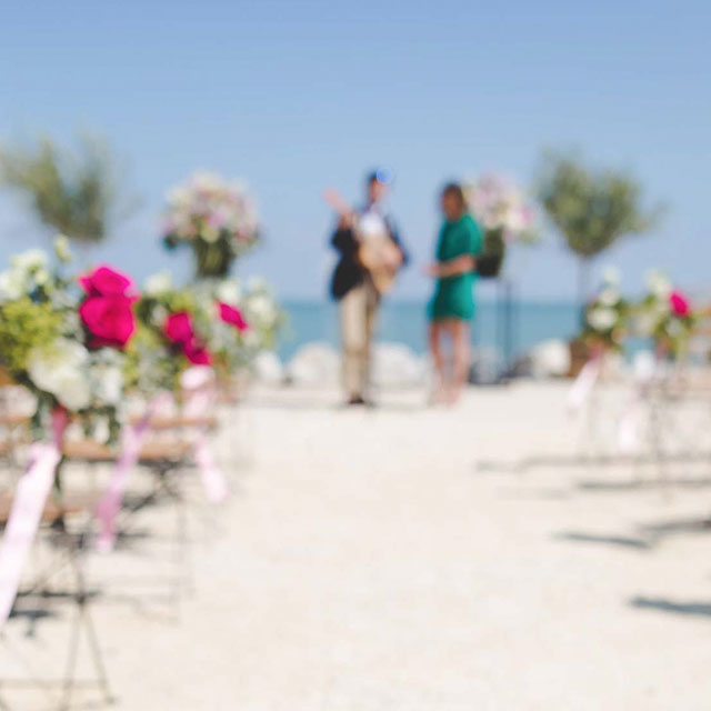 Music entertainment at beach wedding