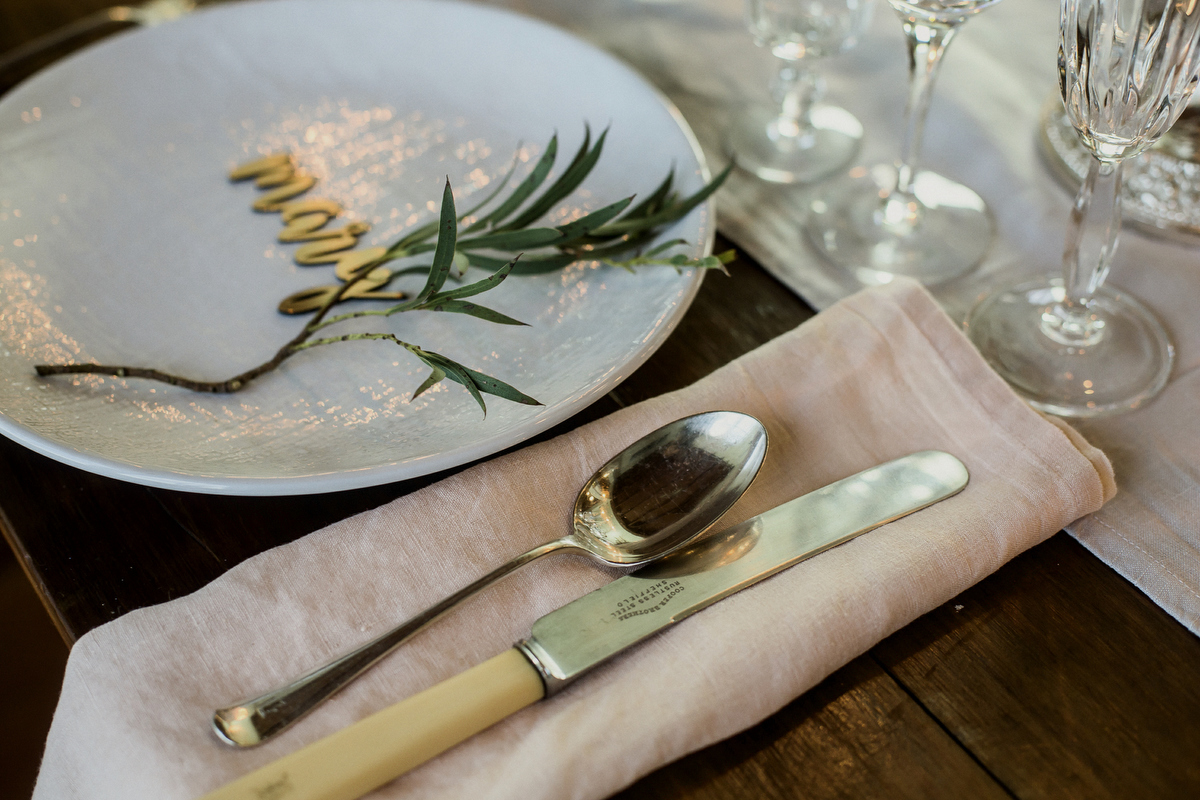 Blush linen napkins and vintage cutlery