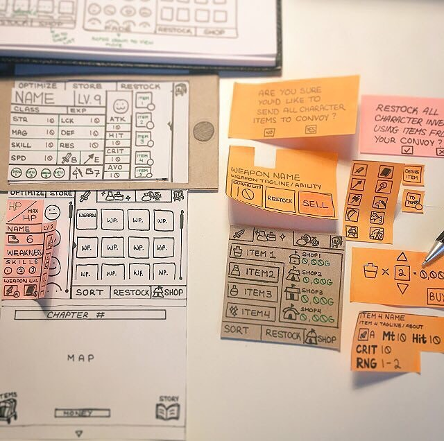 UI Paper Prototyping for a JRPG.