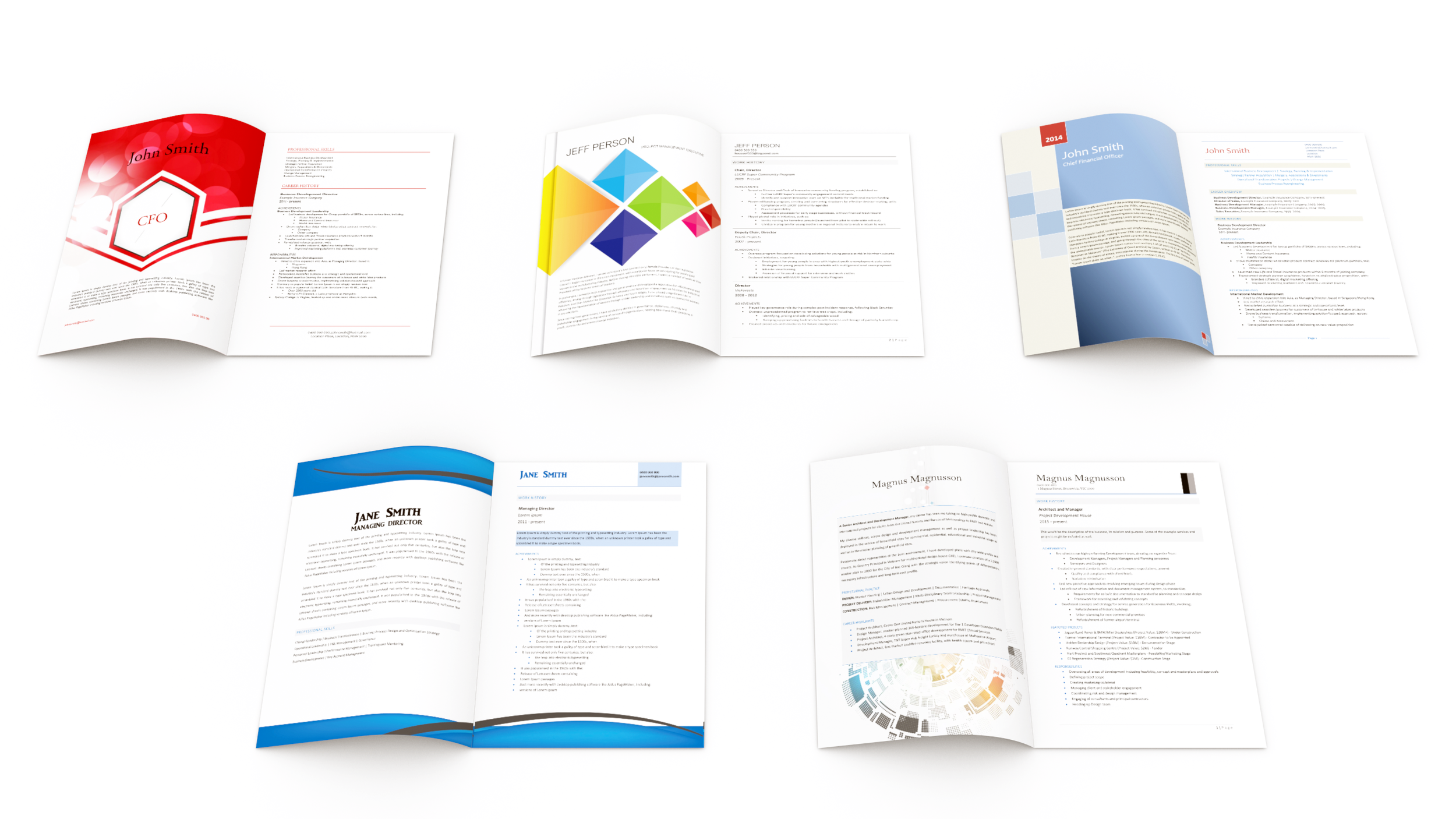 just a few of our beautiful resume formats