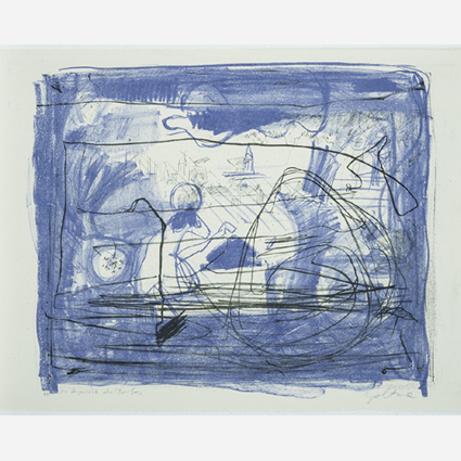 """""""Im Angesicht des Dorfes, 1974, Algrafie in zwei Farben, 32,5 x 39,5 cm"""""""