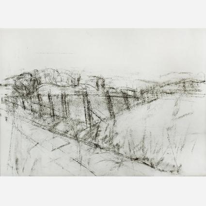 """""""Landschaft in Brandenburg"""", 2015, Kohle e-Papier, 31 x 42 cm"""