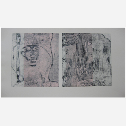 """""""Frauen"""", Jahr, Radierung/Aqatinta, Chine Collet, 40cm x2 x37 cm"""