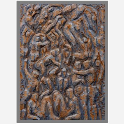 """""""Gewimmel II / Strandszene"""", 2019, Erle teilw. gefärbt, geölt, 78x57x6 cm"""