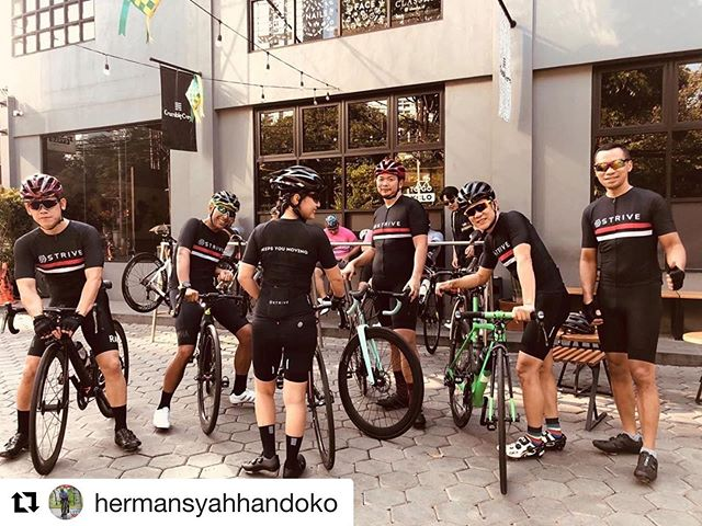 """Beautiful repost from @hermansyahhandoko """"Strive keeps our friendship never ends"""". • • #whatdoyoustrivefor during this Holiday season? We want to hear your stories. Please tag and follow us. We will send you surprised gifts if we repost your story ・・・ • • • • • • • • #striveindonesia #kelapagadingbikers #db2gowes #cyclingdaddy #whatdoyoustrivefor #keepsyoumoving #striveonthego"""
