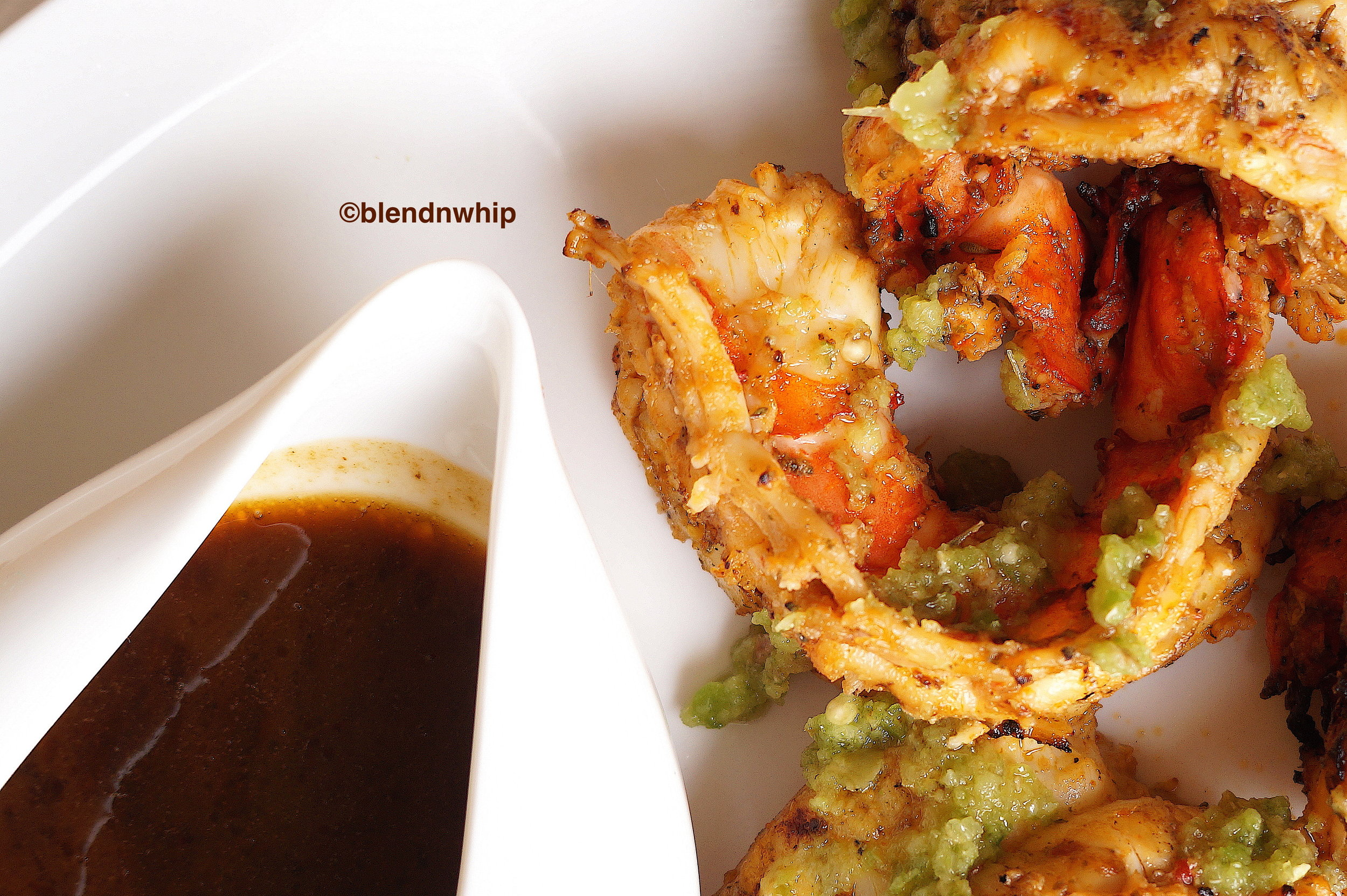 grilled prawns, green chili sauce & prawn head sauce
