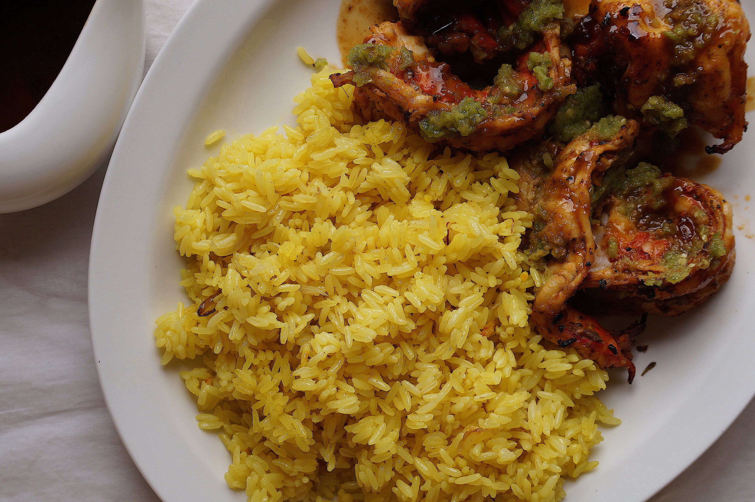 Turmeric Rice, Grilled Prawns