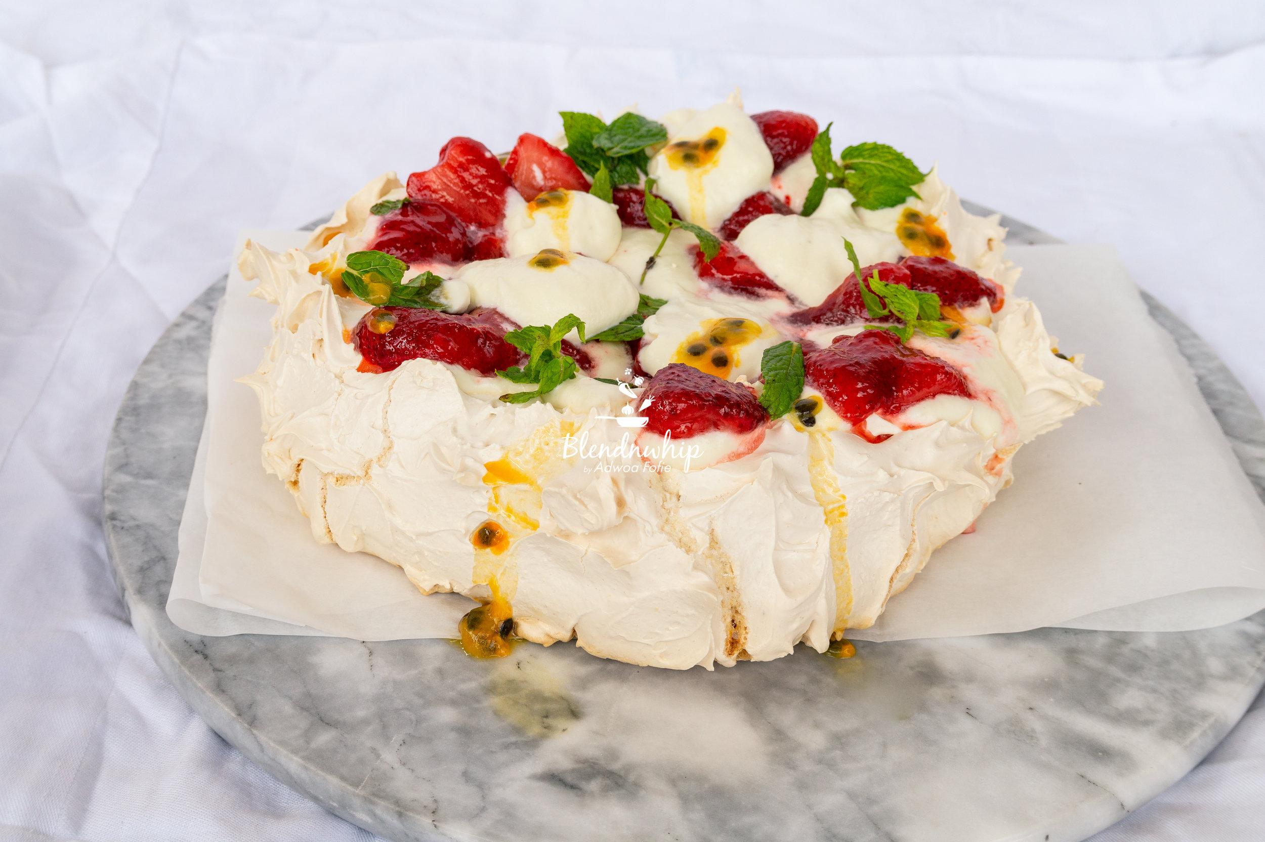 Pavlova with White Chocolate Whipped Cream & Strawberries .jpg