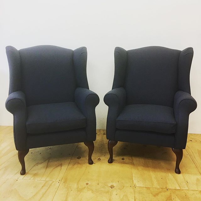 Two massive wingback armchairs re-covered in @linwood_fabric Pronto in colour Midnight. They now look super sleek and stylish and have gone home to a very happy customer . #wingbackarmchair #armchair #wingback #linwoodfabric #happycustomer #newlook #armchairs #ninasworkshop