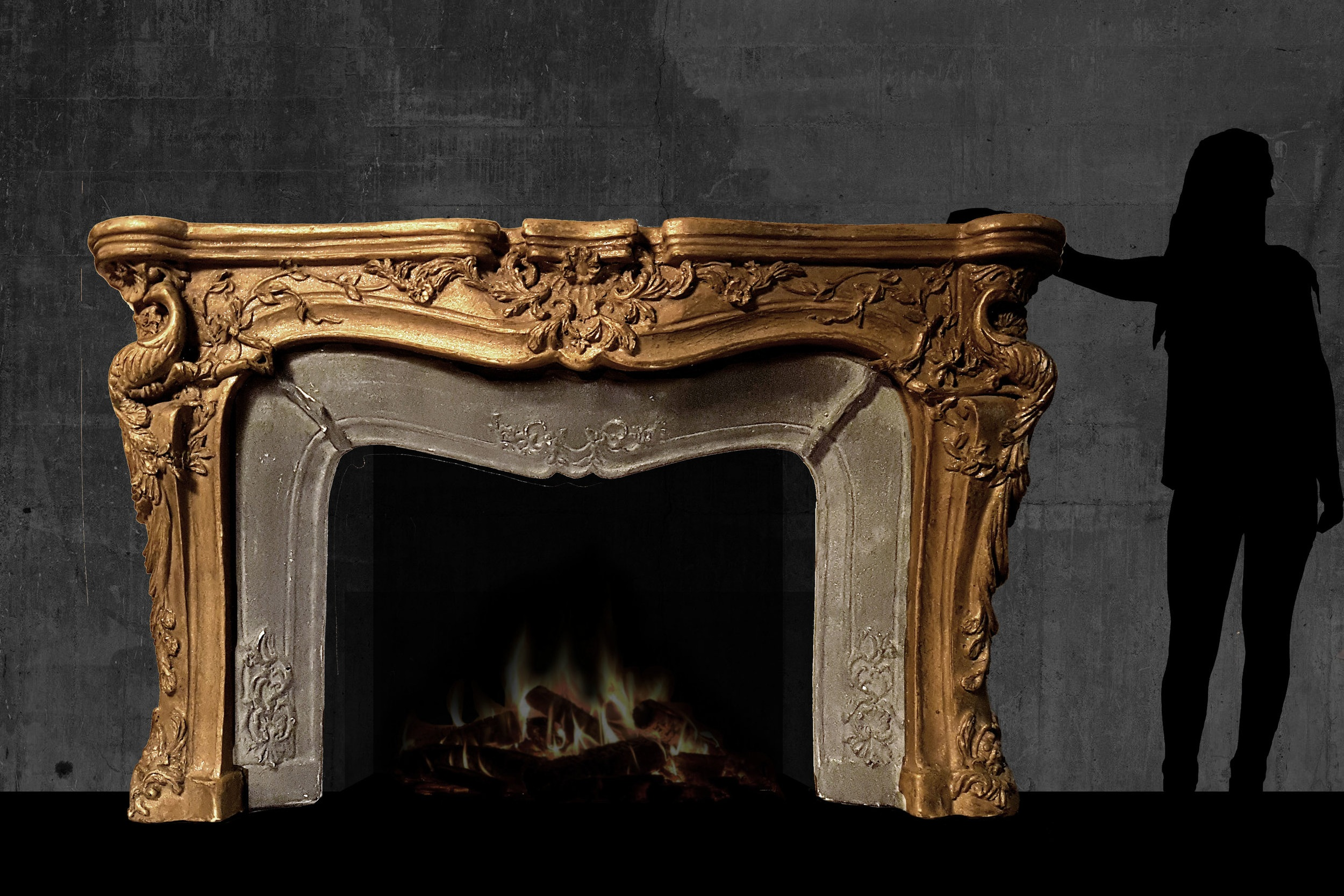 This client requested no photographs be taken of the works in their home. Hayley offers a premium privacy service to clients who make this request. This image is a mock-up of the fireplace mantel. Please enquire if you would like to know more about this project.
