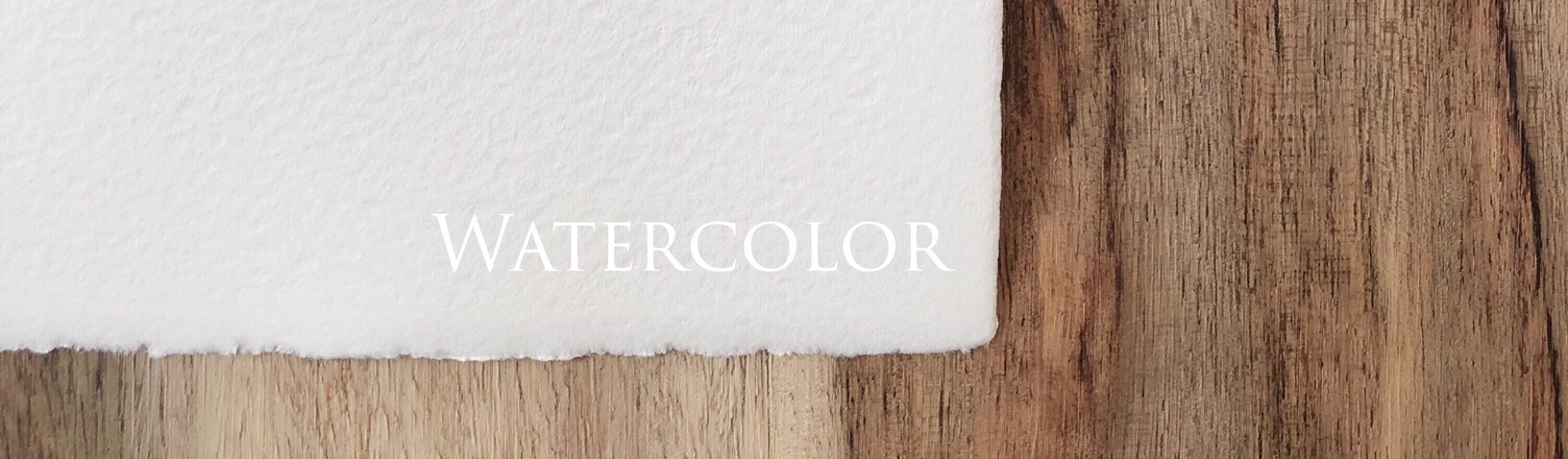 Watercolor paper is handmade in Italy. It is soft white in color and has a classic watercolor texture with slightly natural deckled edges.
