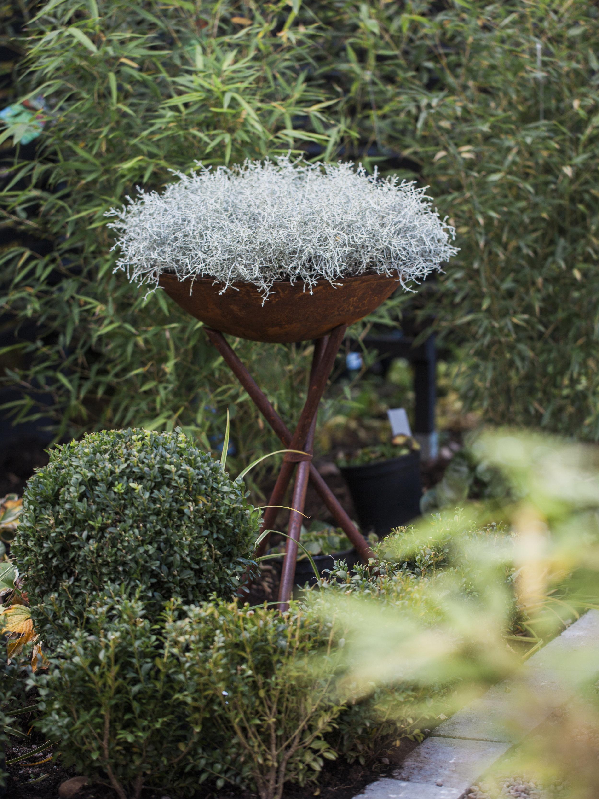 TRÄDGÅRD   Hos oss hittar ni dekorationer till trädgården efter säsong. Vi har allt från större krukor till fågelbad och marschallhållare.