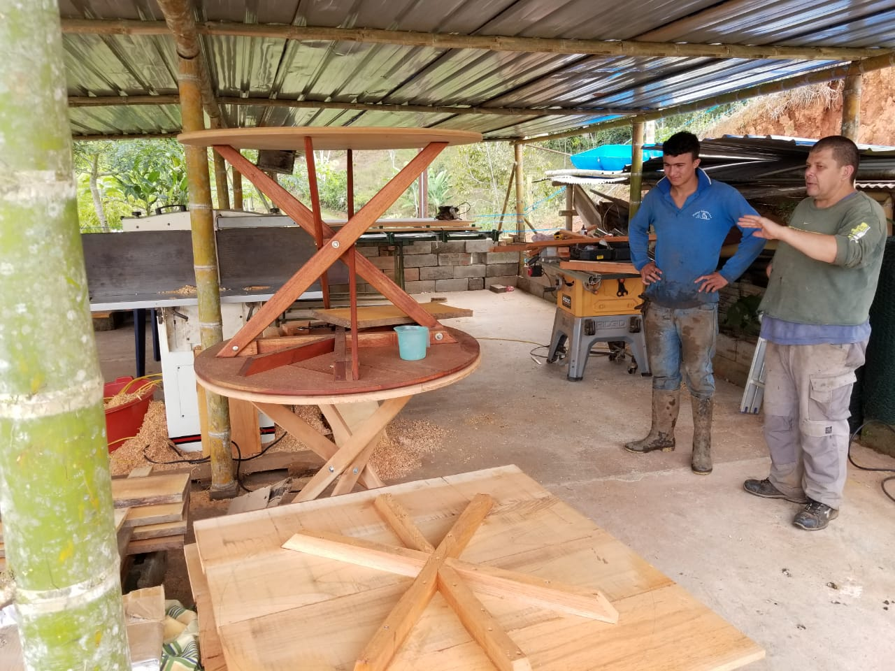 Jean, a farmer/neighbor who lives up the road from the lodge, is making a great deal of our furniture! Here he is in his workshop.