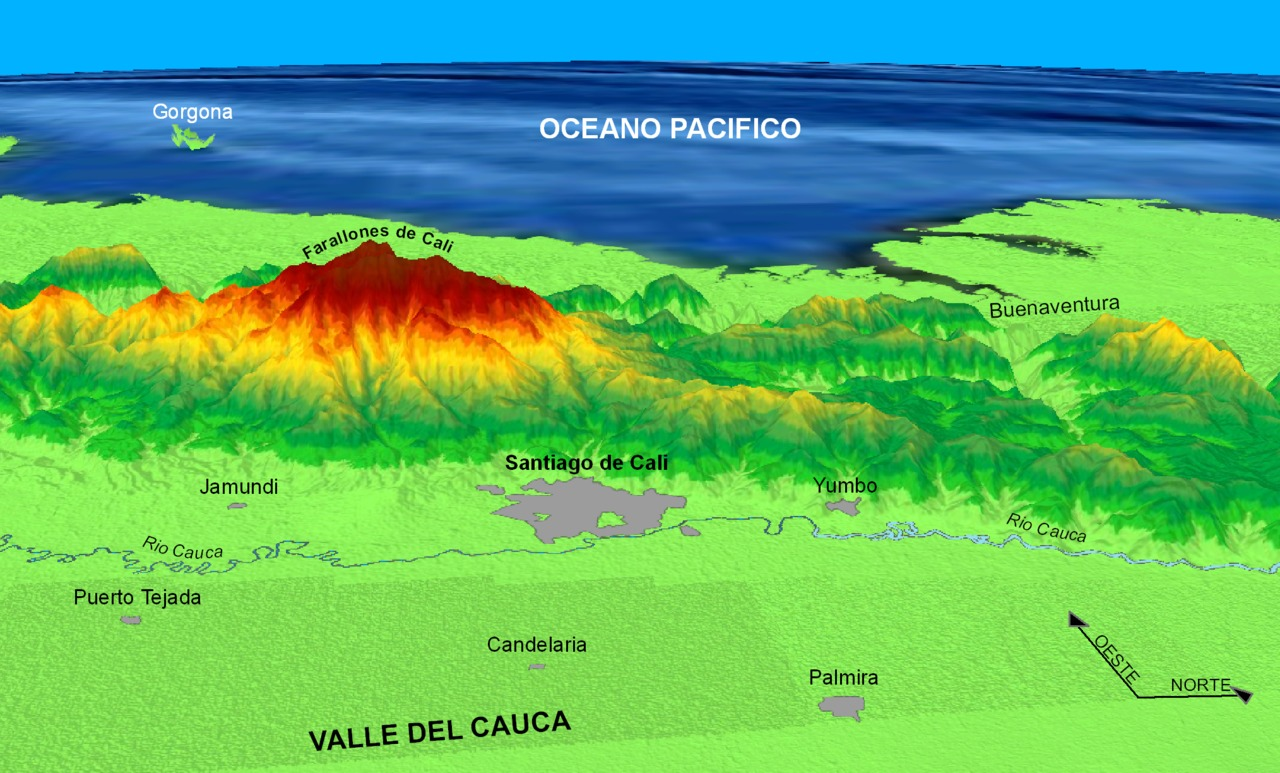 A visualization of Cali and it's surrounding areas, including the Farallones mountains.
