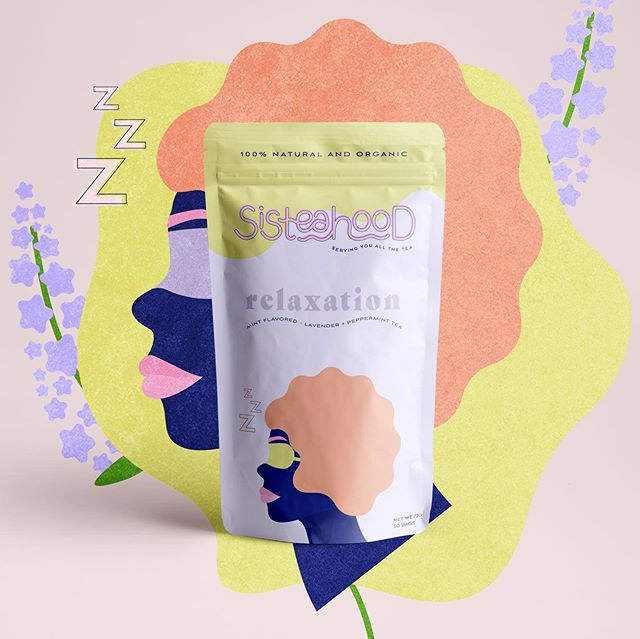 Package design for Sisteahood 🍃⁣⁣ ⁣⁣ An all natural and organic tea brand focused on mental health and togetherness 💕⁣⁣ ⁣⁣ Serving you all the tea for all your needs and feels ✨⁣ ⁣ 💎 Branding gem:⁣ Incorporating (preferably custom) illustrations in your brand actually helps you tell your story even better, gives you more personality AND makes you stand out more 💥⁣ ⁣ 🗣 So tell me in the comments, what do you think? And what feels do you DEF need a tea for?