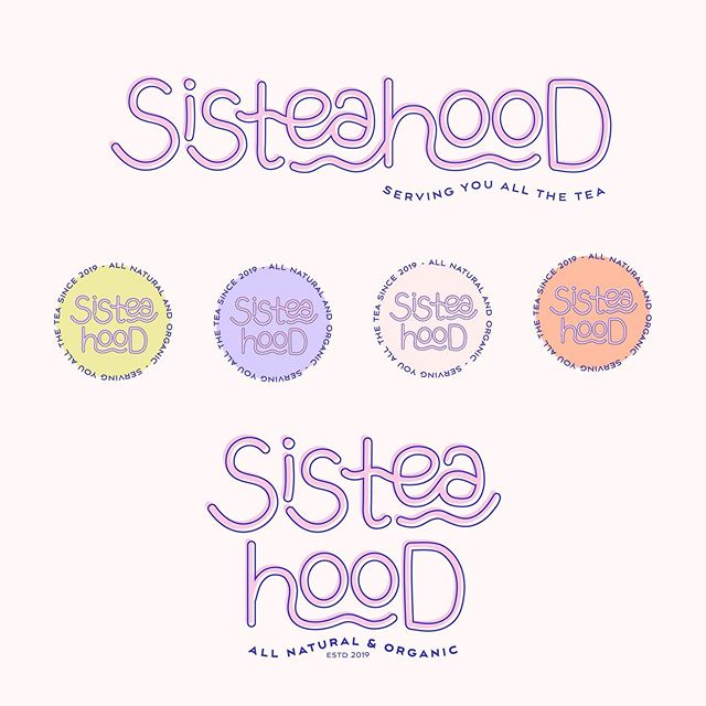 🗣 Sisteahood ready to serve you ALL the tea ☕️! ⁣ ⁣ Logo variations & Color palette ✨⁣⁣ ⁣⁣ Branding tip:⁣⁣ When working with a designer for your logo, never only get one! Even tho branding doesn't equal a logo, your logo is still the mark that announces your business.⁣⁣ ⁣⁣ This means you'll be using it a lot and on a lot of different places and platforms. So just having one logo doesn't suffice, since you'll have to apply it multiple ways!⁣⁣ ⁣⁣ Tell me in the comments if you have more than 1 variation of your logo!