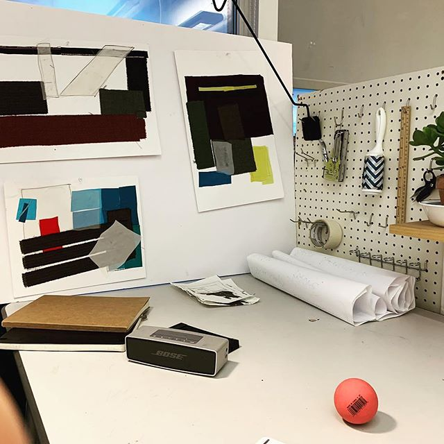 A tidy space is a tidy mind. . . . . #makerspace #studio #desk #art #risd #clean #textiles #fabric #swatch