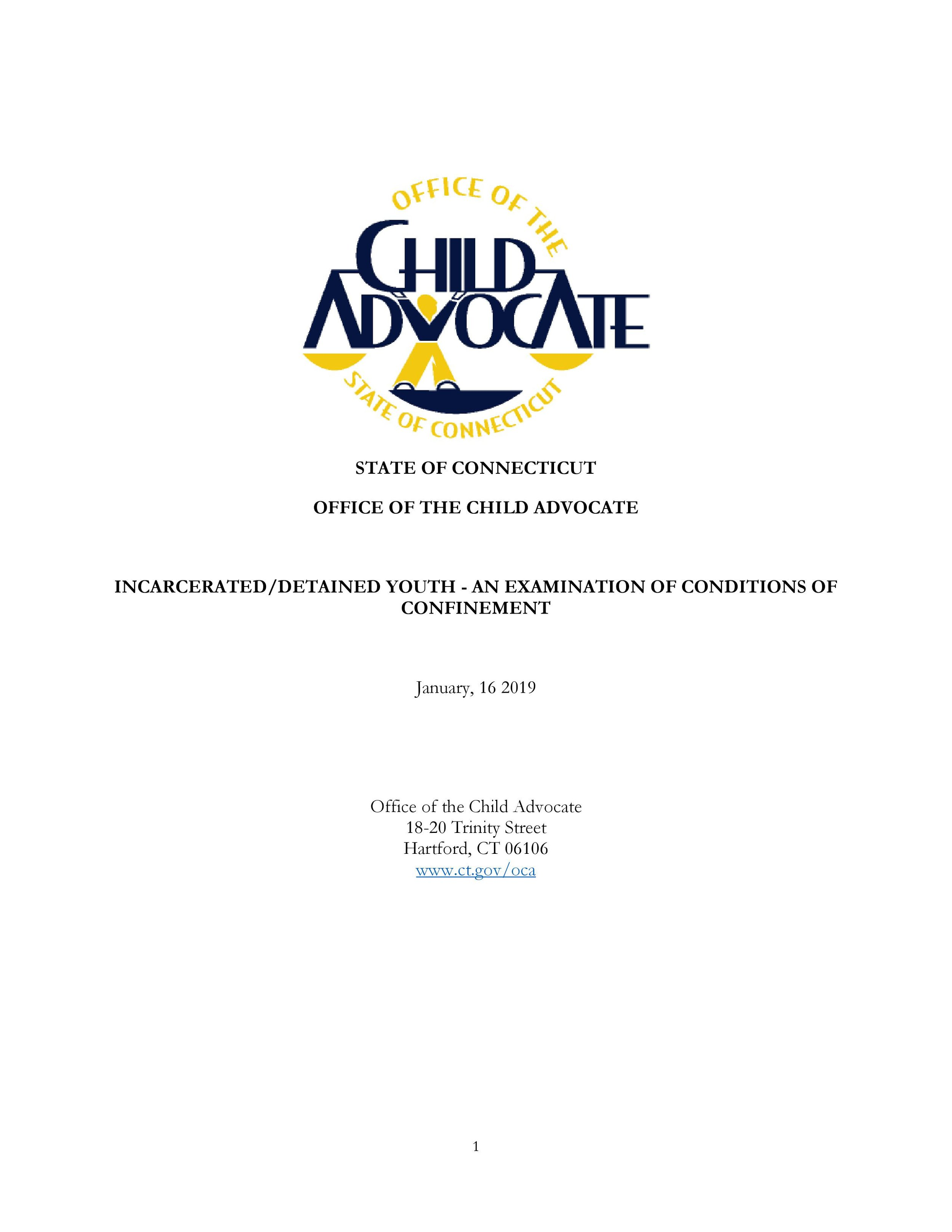Click on the image above to access the report compiled by the Office of the Child Advocate.
