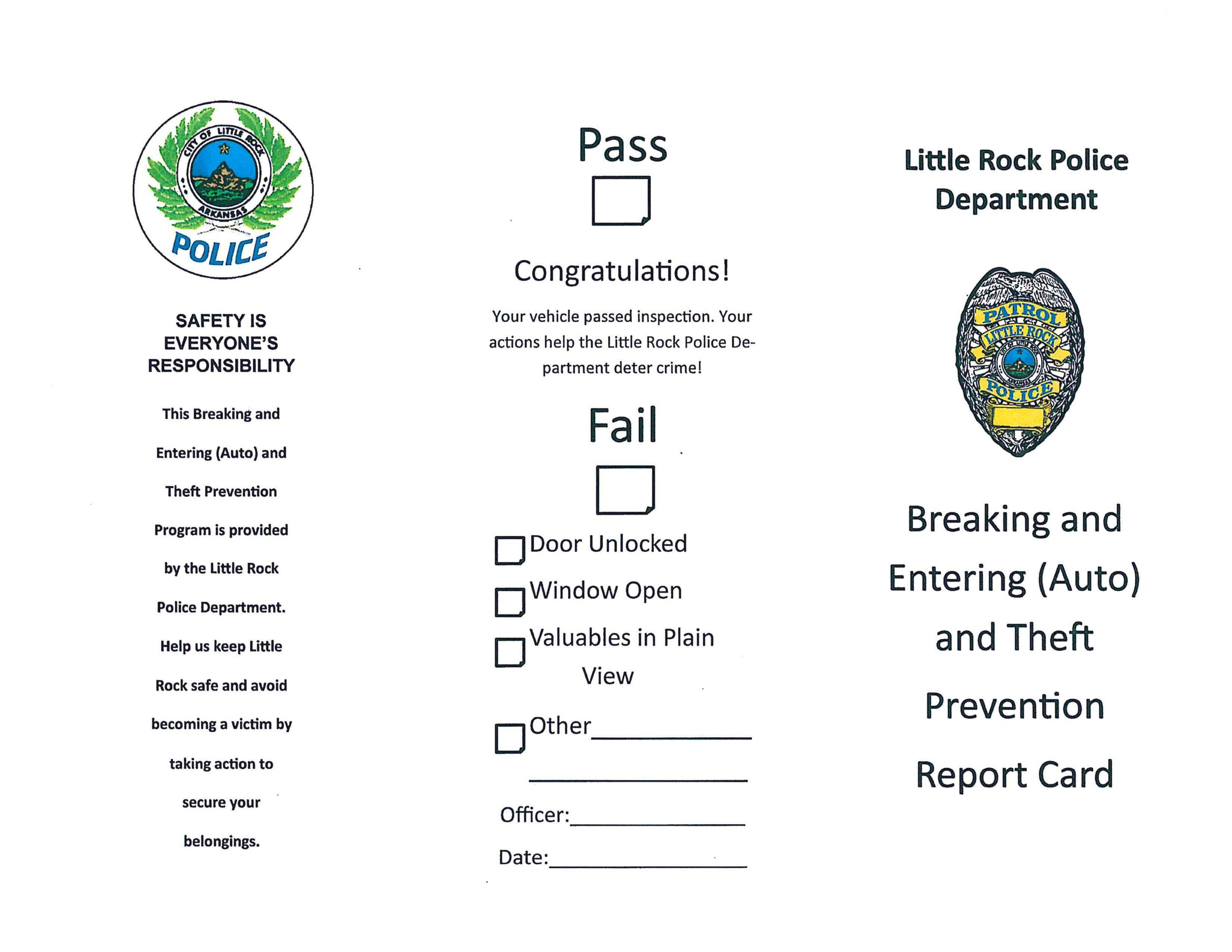 image relating to Printable Report Card referred to as Tiny Rock Car or truck Burglary Avoidance - Post Card CT Juvenile