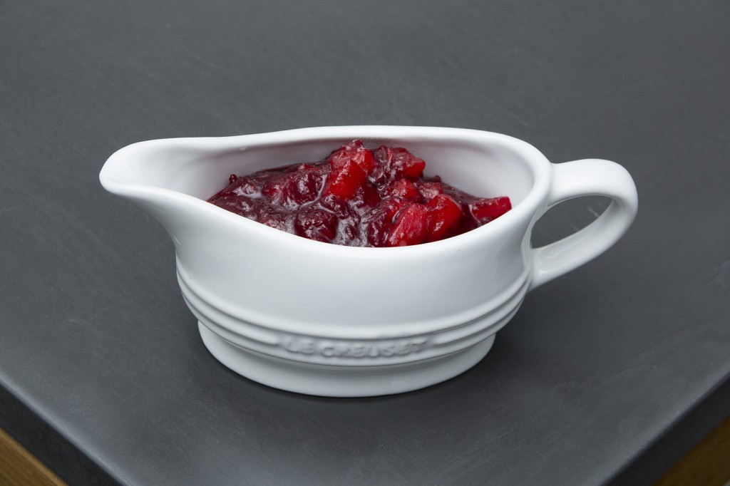 Le Creuset Gravy Boat  with Cranberry Sauce