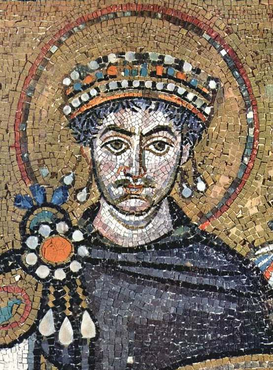 Justinian I. Contemporary portrait in the Basilica of San Vitale, Ravenna . From Wikipedia.