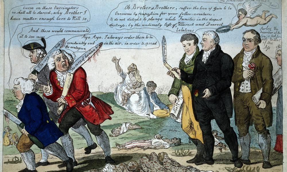 Wood painting caricature from 1808 showing Edward Jenner confronting opponents to his vaccine (note the dead at their feet) (Creative Commons)