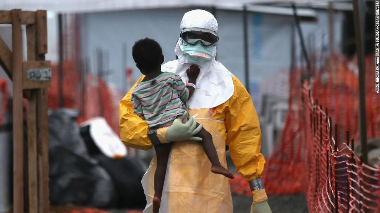 A healthcare worker during the Ebola outbreak of 2014-16 (From CNN.com)