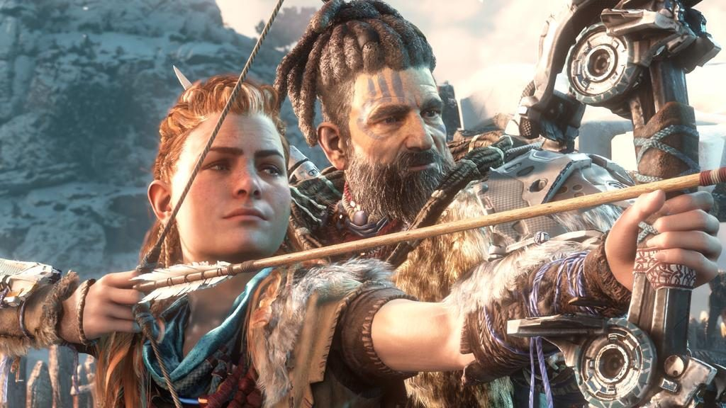 There's Aloy practicing archery with another member of her tribe.