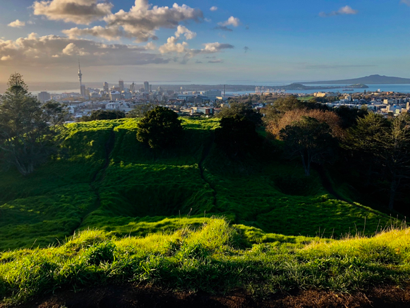 The view from the top of Mt. Eden, one of 50 active volcanoes in and around Auckland.