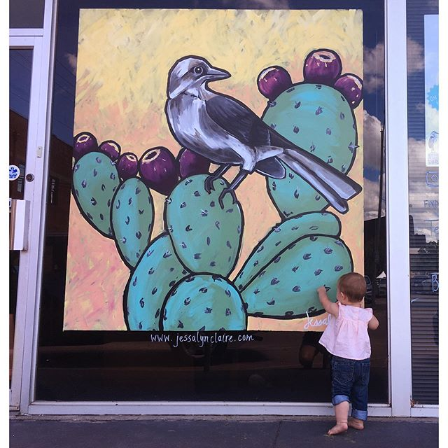 If you're going downtown for the Children's Art and Literature Festival this weekend, stop by my Little Birder window mural. Snap a photo! (It's the N 5th side of the building) (Swipe to see progress photos.)