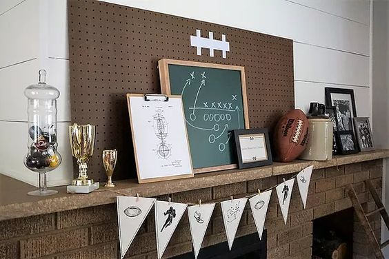 Vintage inspired football mantel